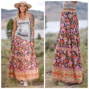 Boho Floral Blue Layered Maxi Skirt Lined